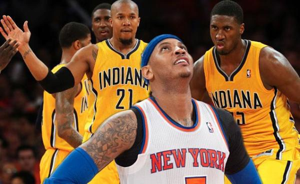 Knicks star Carmelo Anthony is already searching for answers as the Knicks look to bounce back in Game 2 versus Indiana.